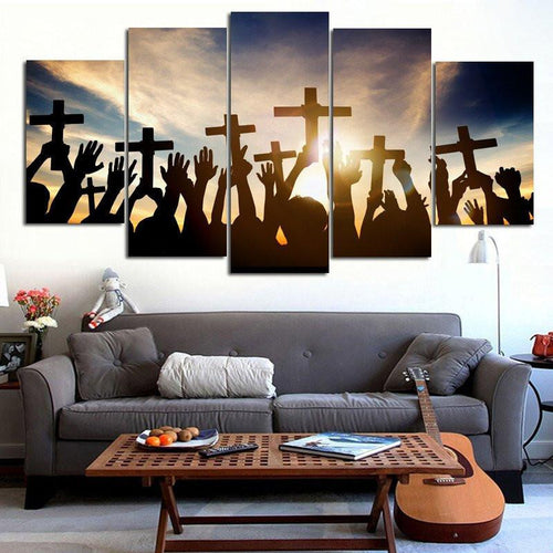 Holding Cross During Sunrise Wall Art Multi Panel Canvas