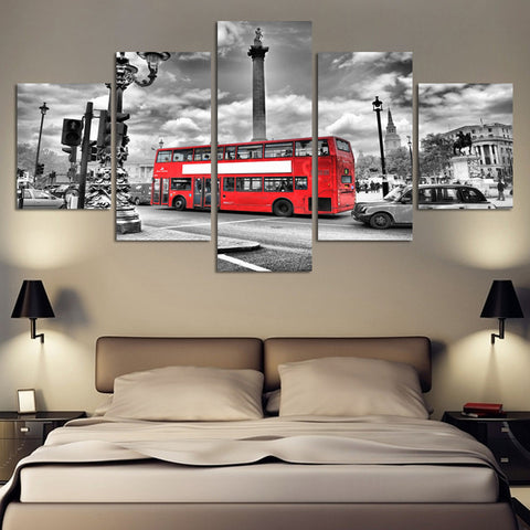 red london double decker bus wall art canvas