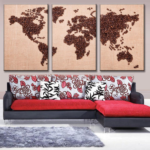 Coffee bean world map multi panel canvas wall art mighty paintings coffee bean world map canvas wall art gumiabroncs Images