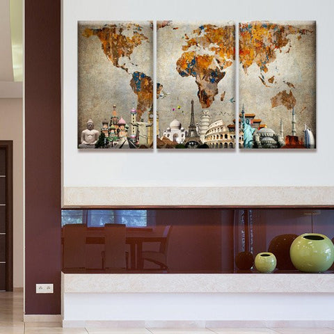 World map wall art multi panel canvas mighty paintings famous monuments on world map wall art canvas gumiabroncs Image collections
