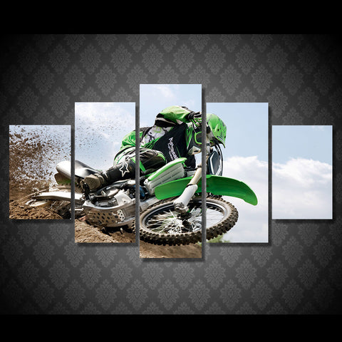 Motocross Supercross DirtBike Skidding Multi Panel Canvas Wall Art