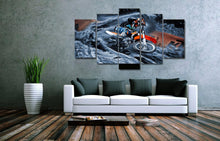 Motocross Supercross Dirt Bike Spinning Out Canvas Wall Art Decor Poster