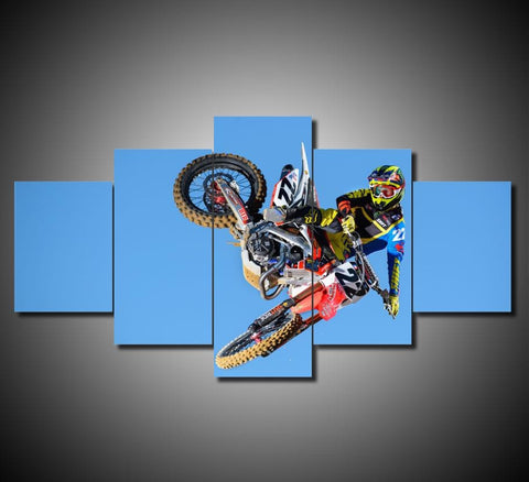 Motocross Supercross Dirtbike Air Tricks Stunts Multi Panel Canvas Wall Art