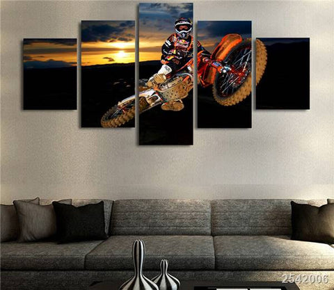 Motocross Supercross Dirtbike Air Stunt Multi Panel Canvas Wall Art