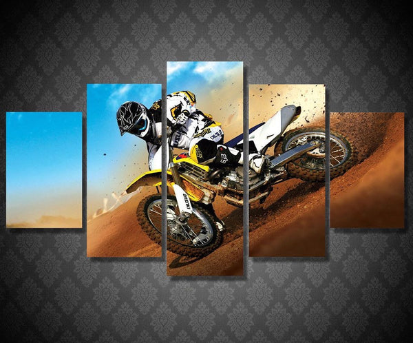Supercross Racing to Finish Canvas Wall Art Poster