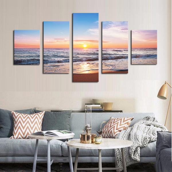 Enjoying Sunset or Sunrise on the Tropical Beach Multi Panel Canvas Wall Art