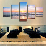 Enjoying Sunrise on the Tropical Beach wall art print canvas