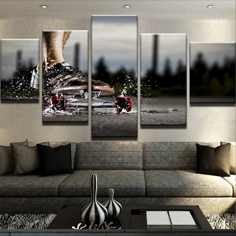Skateboarding Outside in the Rain Wall Art Multi Panel Canvas