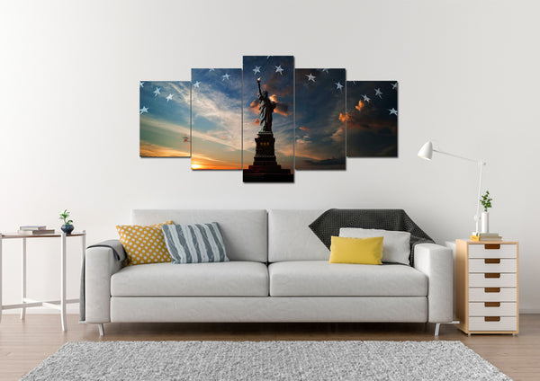 Statue of Liberty with American Flag Multi Panel Wall Art Canvas