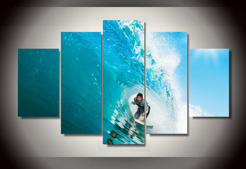 Surfer Doing Barrel Ride Wall Art Poster Print Canvas