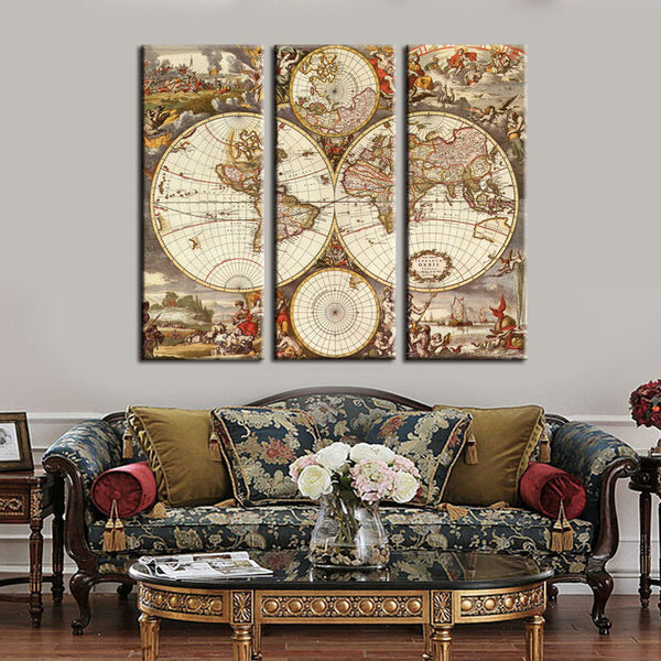 map of all world wall art canvas