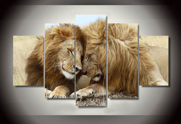 Lion and Lioness family Canvas Wall Art
