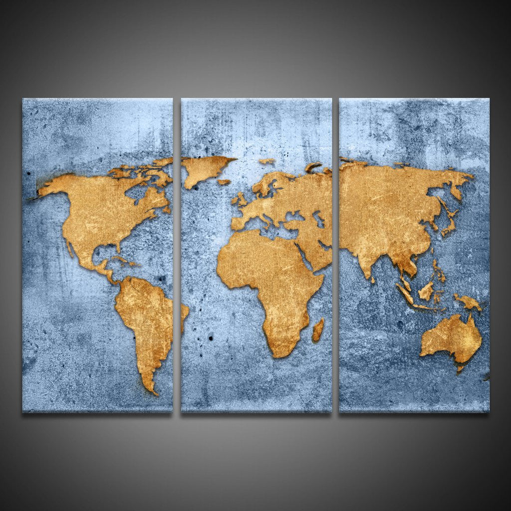 full map of world wall art canvas