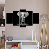 black and white elephant wall art canvas print poster decor