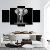 black and white elephant wall art canvas print poster decor 2