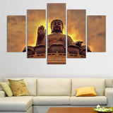 buddha on lotus base wall art canvas