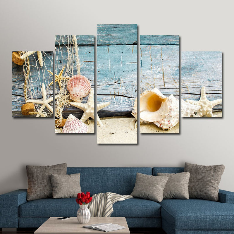 Conch Seashells On Beach Multi Panel Wall Art Canvas Mighty Paintings