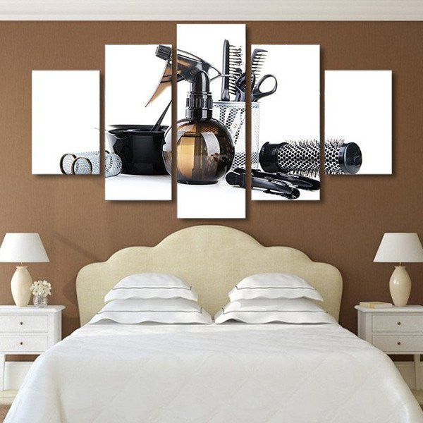 hair salon shears clippers wall art canvas