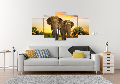 Elephant Couple Multi Panel Canvas Wall Art