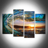 Waves at Sunset & Sunrise Multi Panel Wall Art Canvas