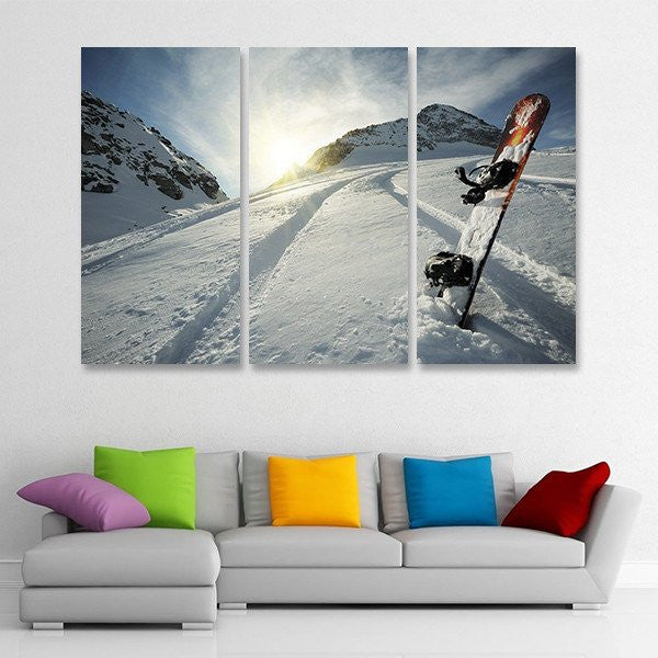 Snowboarding at Sunrise Sunset wall art canvas