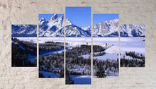 Mountains Forest Winter Snow Landscapes Multi Panel Canvas Wall Art