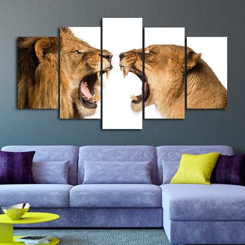 Lion and Lioness Canvas Wall Art