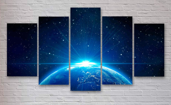 Earth From Space Multi Panel Canvas Wall Art