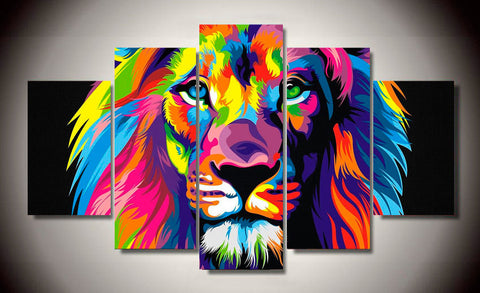 colorful rainbow lion wall art canvas