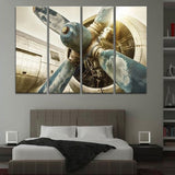 retro antique vintage aircraft airplane engine turbine wall art canvas decor painting print poster