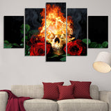 skull and roses wall art canvas