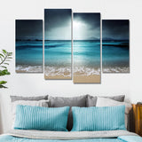 moonlight on beach wall art canvas print