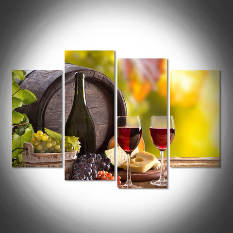 wine glasses vineyard wall art canvas