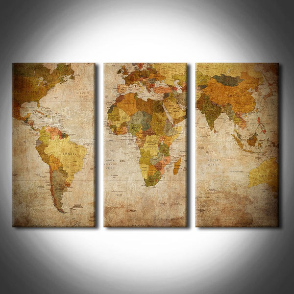 ancient world map wall art canvas