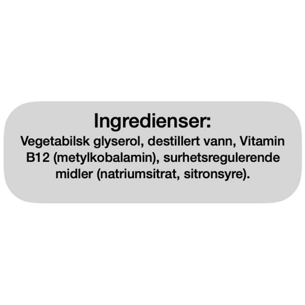 Ingredienser Bio Life Vitamin B12 Flytende