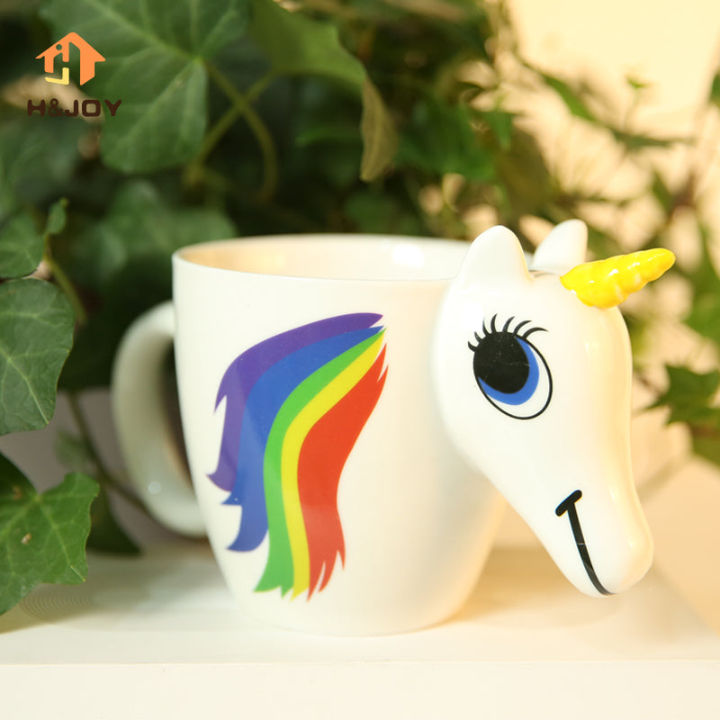 Cartoon Unicorn Mug Discoloration Cup For Dropship 3D Unicorn Cup caneca Magic Mug color changing Magical Horse Cups Coffee Cup