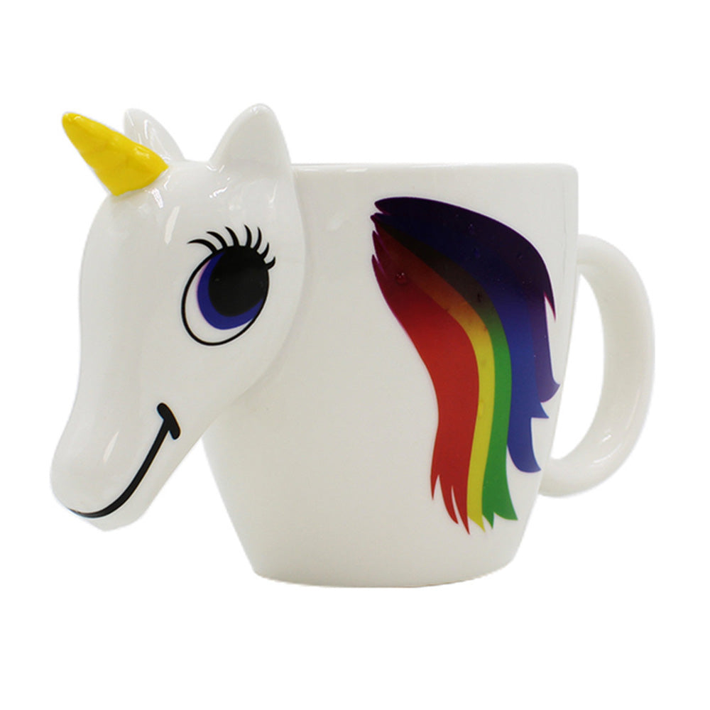 Cartoon Unicorn Mug Unicorn Discoloration Mugs Color Changing Temperature 3D Ceramic Coffee Cup Mugs Magical Hot Milk Cup Gifts