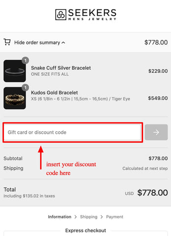 Guide for use your discount code on mobile step 2
