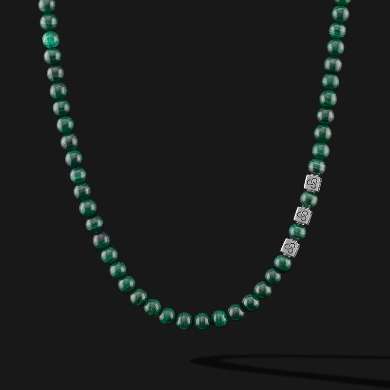 Essential Green Malachite Silver Necklace-Necklace-Seekers Luxury-Seekers Luxury