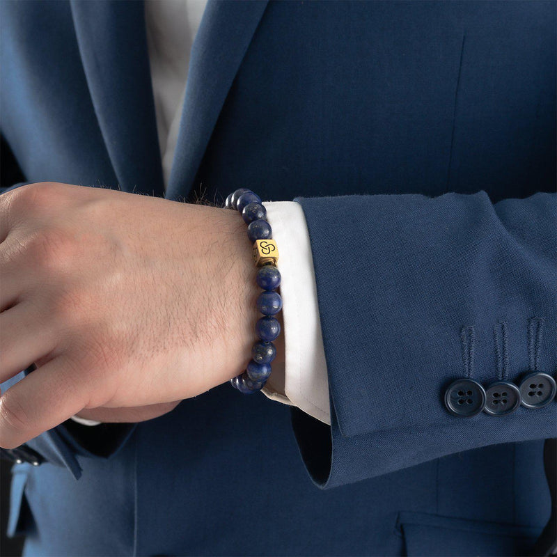 Essential Lapis Lazuli Gold Bracelet-Beaded Bracelet-Seekers Luxury-Seekers Luxury