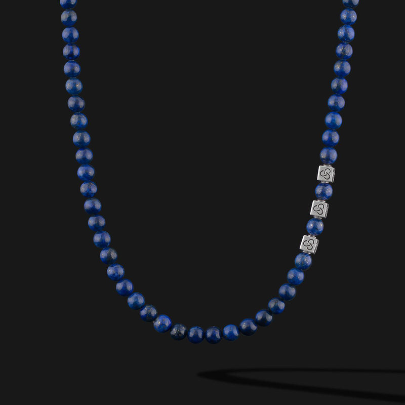 Essential Lapis Lazuli Silver Necklace-Necklace-Seekers Luxury-Seekers Luxury