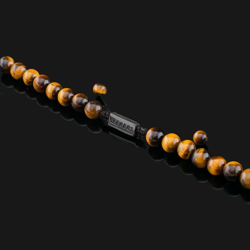 Essential Tiger Eye Black Gold Necklace-Necklace-Seekers Luxury-Seekers Luxury