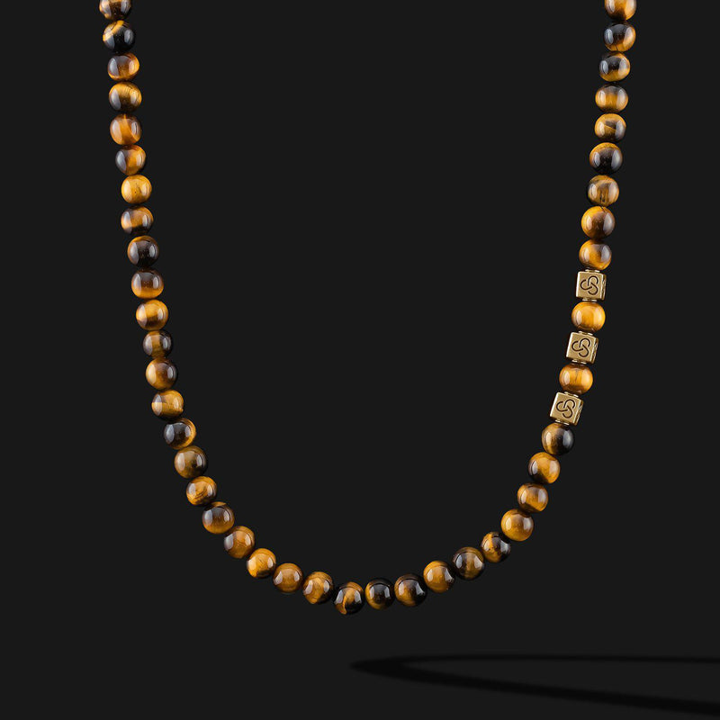 Essential Tiger Eye Gold Necklace-Necklace-Seekers Luxury-Seekers Luxury