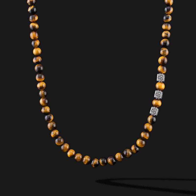 Essential Tiger Eye Silver Necklace-Necklace-Seekers Luxury-Seekers Luxury