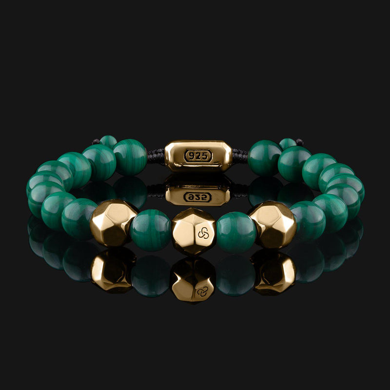 Geom Green Malachite Gold Bracelet-Beaded Bracelet-Seekers Luxury-Seekers Luxury