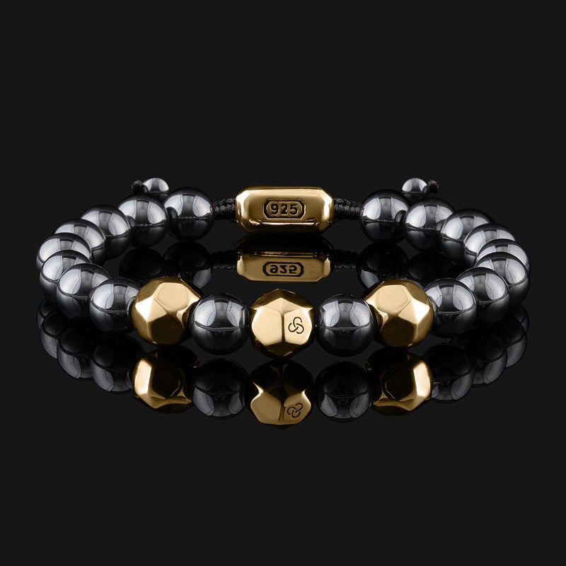 Geom Hematite Gold Bracelet-Beaded Bracelet-Seekers Luxury-Seekers Luxury