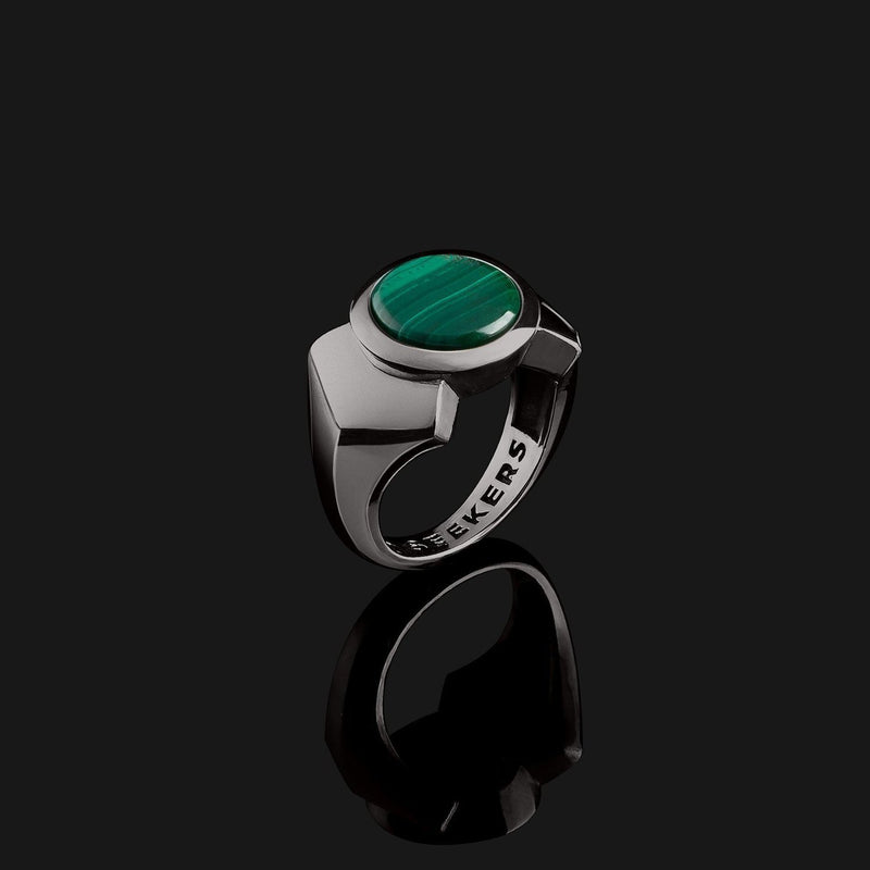 Kudos Black Gold Ring-Ring-Seekers Luxury-9-Green Malachite-Seekers Luxury