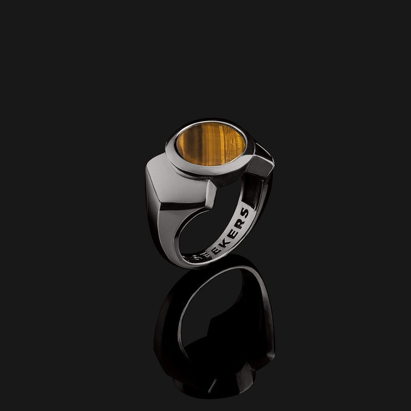 Kudos Black Gold Ring-Ring-Seekers Luxury-9-Tiger Eye-Seekers Luxury