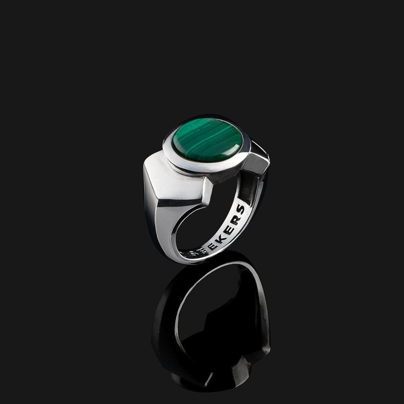 Kudos Silver Ring-Ring-Seekers Luxury-9-Green Malachite-Seekers Luxury