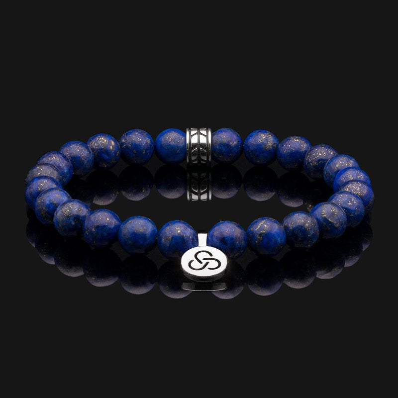 Luxe Lapis Lazuli Silver Bracelet-Beaded Bracelet-Seekers Luxury-Seekers Luxury